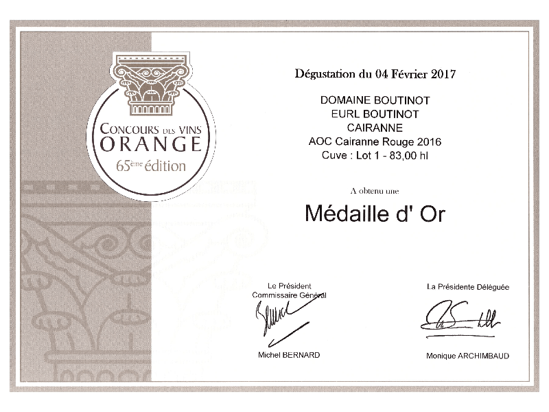 Gold Medal for Domaine Boutinot.001